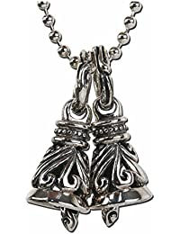「silverKYASYA」シルバー925素材 ダブルベルネックレス クレーンベル925 音色美しい アラベスク彫り 唐草 シルバーネックレス!