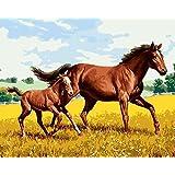 Diyの油絵子供のためのデジタル油絵大人初心者16x20インチ、2頭の馬が走っている--クリスマスの装飾ホームインテリアギフト (フレームなし)