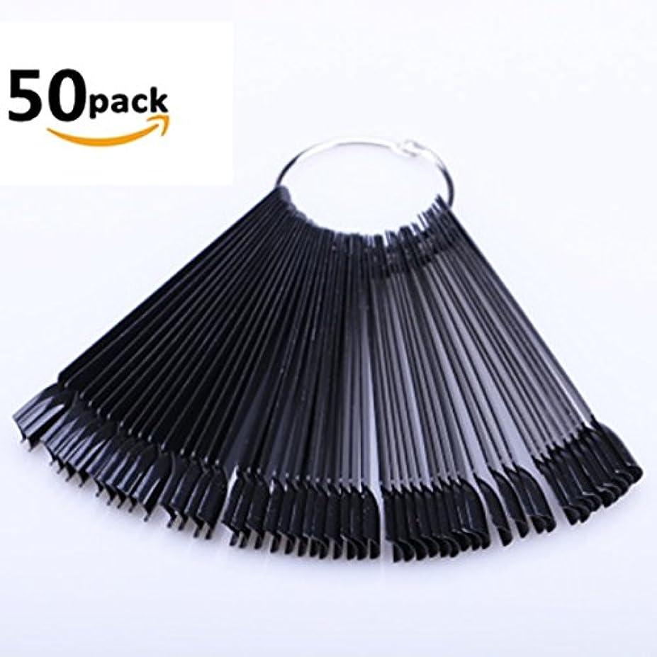 消化トリプルキノコKingsie ネイル カラーチャート スティック チップ 50本 偽ネイル ディスプレー 練習 (ブラック)