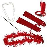 Baosity フェザー ヘッドバンド ネックレス タバコホルダー 手袋 ダンスパーティー コスプレパーティー 舞台道具 全3色 - 赤