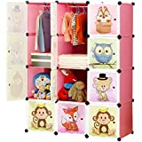 BRIAN & DANY 12 Cube Storage Kid Cabinet Wardrobe Toy Book Rack Book Shelve 111 × 47 × 148 cm (Pink)
