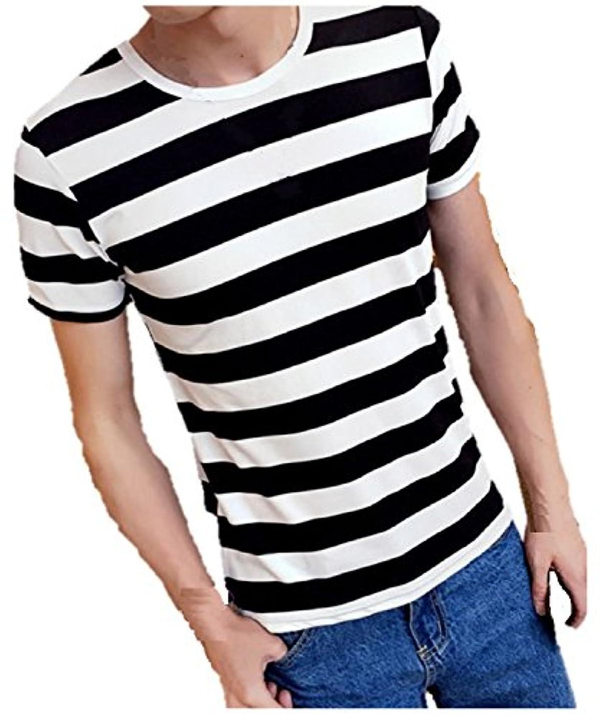 ウォーターフロント領収書つかの間(ボナスティモーロ) Buona stimolo メンズ Tシャツ 半袖 マリン ボーダー 柄 クルーネック 丸首 カットソー