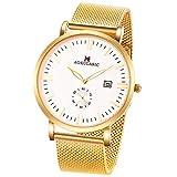 SIBOSUN 腕時計 メンズ 薄型 薄い 日本クォーツ ゴールド メッシュ ステンレス 鋼 防水 日付 サブダイヤル秒