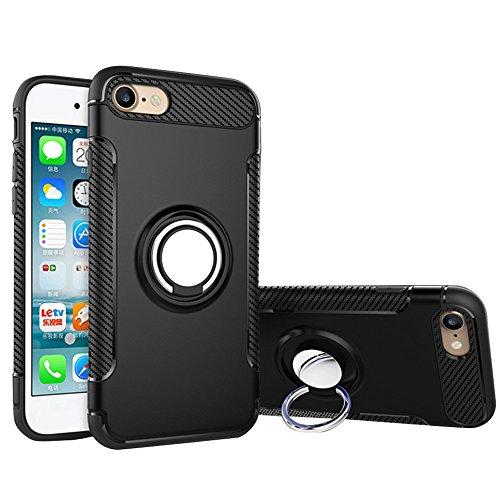 Unique Spirit iphone7plus ケース ハンガーリング付 スタンド機能 スマホ リング ホールドリング 水平に置く可能 落下防止 携帯カバー 衝撃防止 軽量 薄型 ケース アイフォン7plus ケース アイフォン7plus ケース iPhoneカバー ブラック