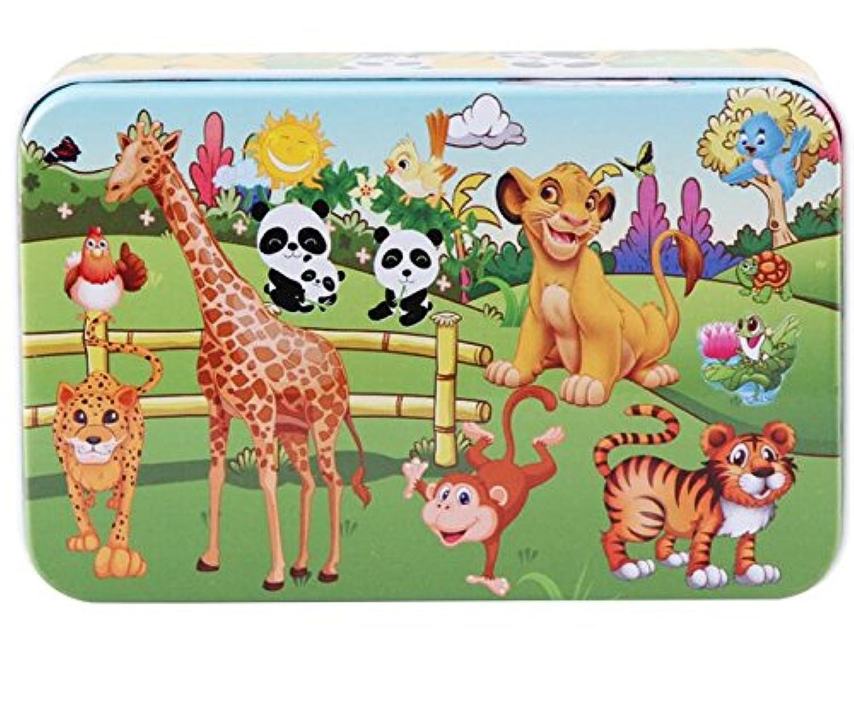HuaQingPiJu-JP 高品質の木製教育パズルアーリーラーニング番号の形状色の動物のおもちゃ子供のための素晴らしいギフト(動物の土地)