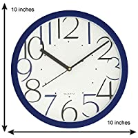 Chronikle Blue Fibre Designer Round dial Analog Wall Clock with Special Printed Numerals (25cmx 25cmx 4cm)