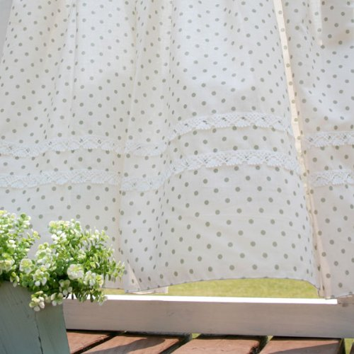 SunnyDayFabric カフェカーテン オーガニックコットン水玉カフェ オリーブ 約145cm幅×70cm丈