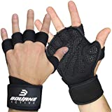 Ventilated Fitness Gym Weight Lifting Gloves with Built-In Wrist Wraps for Men & Women. Full Palm Protection & Extra Grip. Great for Weightlfiting, Workout, Cross Training & WODs