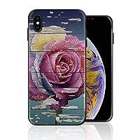 iPhone XS 携帯カバー レトロ 木の板 ピンク バラ 花柄 カバー TPU 薄型ケース 防塵 保護カバー 携帯ケース アイフォンケース 対応 ソフト 衝撃吸収 アイフォン スマートフォンケース 耐久