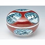 京焼・清水焼 磁器 香合 赤濃丸紋山水 紙箱入 Kiyomizu-kyo yaki ware. Japanese porcelain kogo incense burner red sansui with pape..