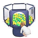 改善版 ベビーサークル サークル こども ジョイント式 赤ちゃん サークル 赤ちゃん 柵 洗える 簡単組み立て 持ち運び 収納袋付き 誕生日プレゼントSYOSIN (ブルー)