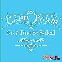 "French Cafe Parisステンシル (Large - 16"" x 11.5"") SMP-V19-L"