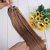FidgetGear 7A 16-26インチのRemyの人間の毛髪延長の容易なループマイクロリングシリコーンビーズ #12ライトブラウン