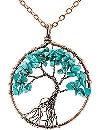 MOWOM 銅 ペンダント ネックレス チョーカー ブルー 青 ターコイズ (トルコ石) 命の木 生命の樹 チャクラ