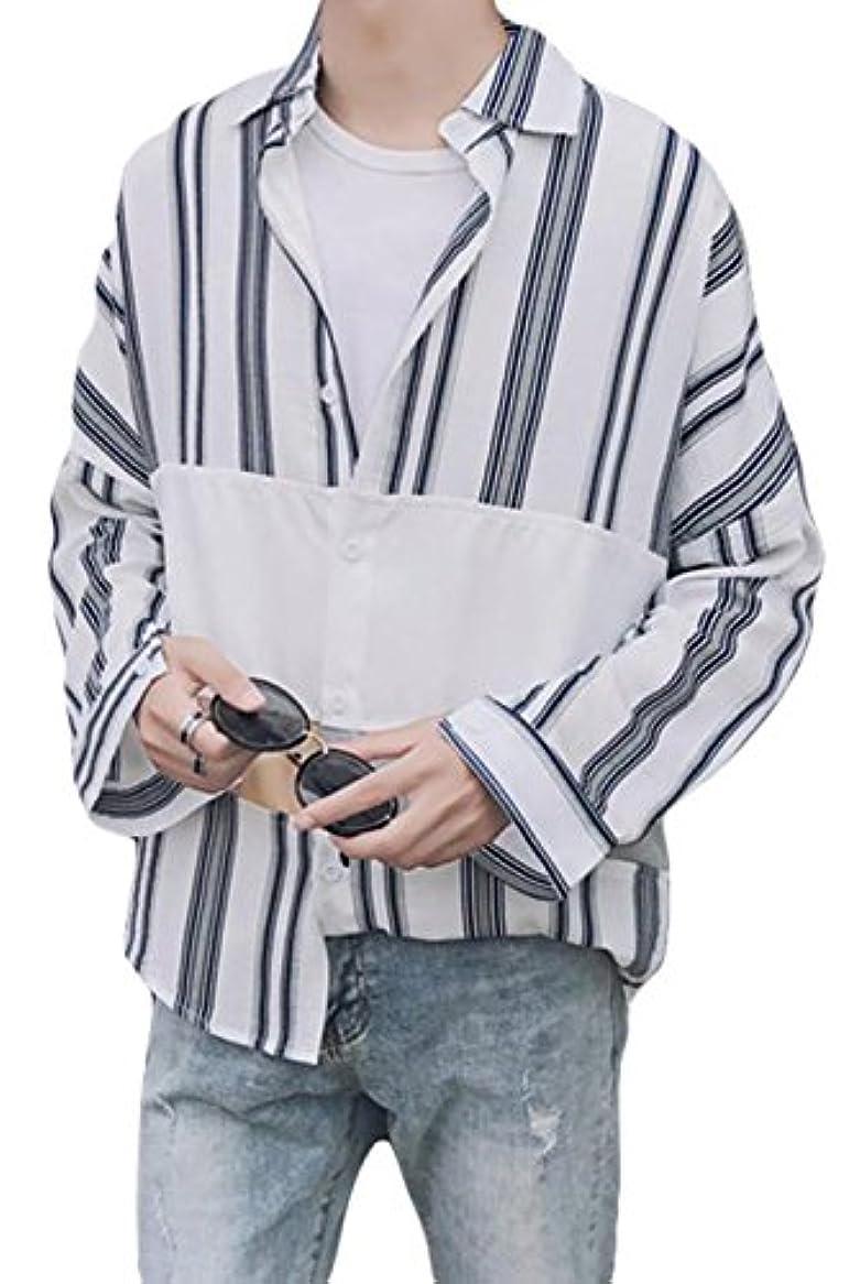 公演トライアスリート社会科BeiBang(バイバン) メンズ 長袖 シャツ ゆったり ストライプシャツ 切り替え カジュアルシャツ アウター 韓国ファッション 夏 秋 ストリートシャツ