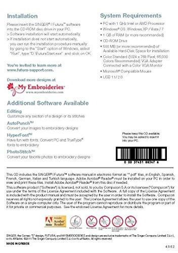 Futura Auto Cross-Stitch Software for XL-400