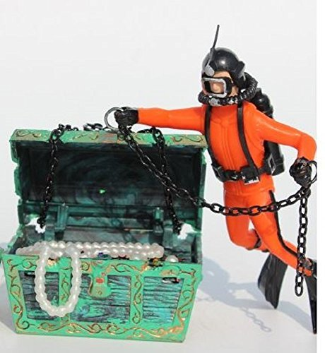 RoomClip商品情報 - 宝箱 と ダイバー アクアリウム 水槽 オーナメント  エアーポンプ 接続 可 オブジェ レイアウト 内装 熱帯魚 観賞魚 (オレンジ)
