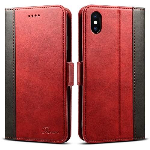 iphone Xs Max ケース 手帳型 アイフォンxsMax - Rssviss カード収納 カバー 手帳 (Qi)ワイヤレス充電対応 サイドマグネット スタンド機能付き 保護力抜群 高級PUレザー レッド(iphonexs max対応) 【6.5inch】