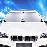 Windscreen Sunshade for Car SUV Truck (28 X 30.9 Inch), 2 Pcs Foldable Sun Shades, Sun Visor Protector, UV Prote ction Keep Your Vehicle Cool- Universal Fit