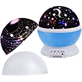 MOKOQI Baby Night Light Lamps For Bedroom Romantic 360 Degree Rotating Star with Sky Moon Cover & Solar System Cover Projector Lights Color Changing LED For Kids Girls Baby Nursery Gift(Blue-2 Lids)