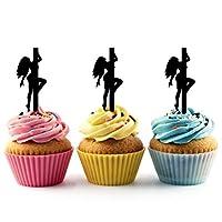 JPTA0134 セクシーな女の子のポールダンス Sexy Pole Dance Girl アクリル製 カップケーキトッパー ケーキトッパー ケーキスティック 結婚式 誕生日 パーティー 装飾用品 アクセサリー 10本