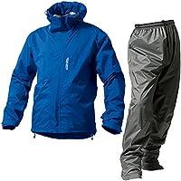 マックレインウェア(MAKKU RAIN WEAR)  DUAL ONE (デュアルワン) 耐久防水レインスーツ ウエア:マットブルー/パンツ:グレー L AS-8000
