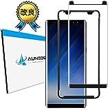 【改良版】AUNEOS Galaxy Note 8 フィルム『3D全面粘着』SC-01K Note8 ガラスフィルム ギャラクシー ノート 8 強化ガラス SCV37 補助キット付属 全画密着 9H 日本旭硝子素材 指紋防止 (Galaxy Note 8, 黒い)