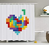 90s Decorations Collection, Video Game Colorful Heart Valentines Day and Happy Valentine Celebration Joy Image, Polyester Fabric Bathroom Shower Curtain, 75 Inches Long, Red