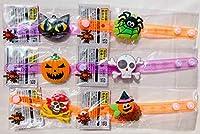 ハロウィン 3パターンに光る! ダイカット ブレスレット 6種類セット (パンプキン ガイコツ 猫 妖精 海賊 くも) 子ども会 おもちゃ 子供会 景品 ノベルティ イベント