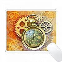 メタルコグ、ギア、素敵な金色の懐中時計を備えたSteampunkのテーマ。 PC Mouse Pad パソコン マウスパッド
