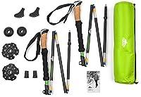 Cascade Mountain Tech Aluminum Folding Travel Trekking Pole with Cork Grips for Hiking and Walking 141[並行輸入]