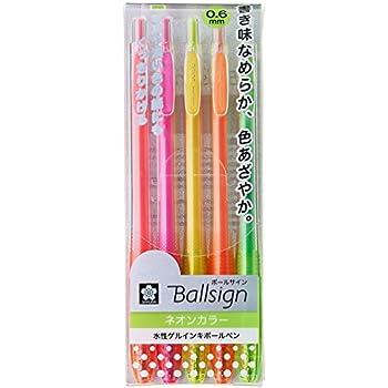 サクラクレパス 水性ボールペン ボールサインノック ネオン 5色 GBR156-5C
