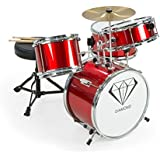 New Childrens 4 Piece Red Diamond Drum Kit Set Musical Instrument,kids