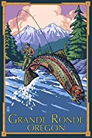 Lagrande、オレゴン州 – Fly Fishing 36 x 54 Giclee Print LANT-43087-36x54