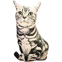 URAKUTOYS 猫 抱き枕 クッション リアル  ネコのぬいぐるみ (ブラック&ホワイト)