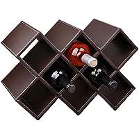 シンプルなワインラックの装飾ワインボトルラックソリッドウッドワインセラーホームリビングルーム現代の創造的なワインキャビネットの装飾 (色 : ダークブラウン)