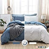 MILDLY 100% Washed Cotton Soft Duvet Cover Set Queen, Reversible White and Denim Blue Solid Color Ruffle Seersucker Casual Design Includes 2 Pillow Cases and 1 Duvet Cover with Zipper & Corner Ties