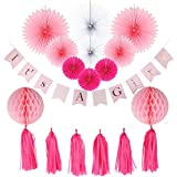 Funpa ガーランド 紙扇子 タッセル 出産祝い ベビシャワー ベビー歓迎式 お祝い パーティー デコレーション 女の子 男の子 可愛い 18点セット 紙 全2色 (ピンク)