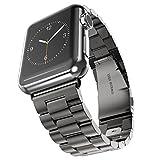 JPUP 高級ステンレス製ベルド 精密制作 New Apple Watch Series 2 /Apple Watch Series 3 に対応 ビジネス風バンド 調整工具が要らない(42mm, 黒)