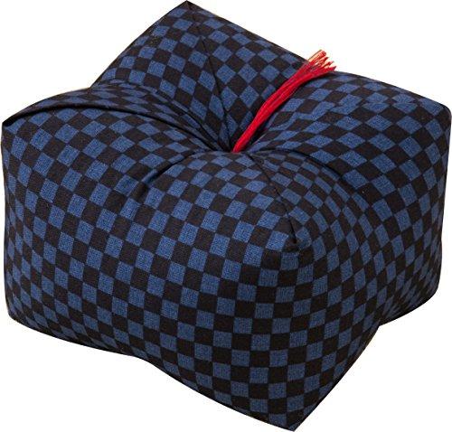エムール 日本製 天然そばがら 正座クッション そばがら枕 中(22×22×13cm) 市松 あお