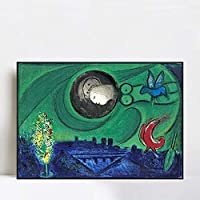 """INVIN ART Framed Canvas Giclee Print Art Dream by Marc Chagall Wall Art Living Room Home Office Decorations(Ps Polymer Black Frame,24""""x32"""")"""