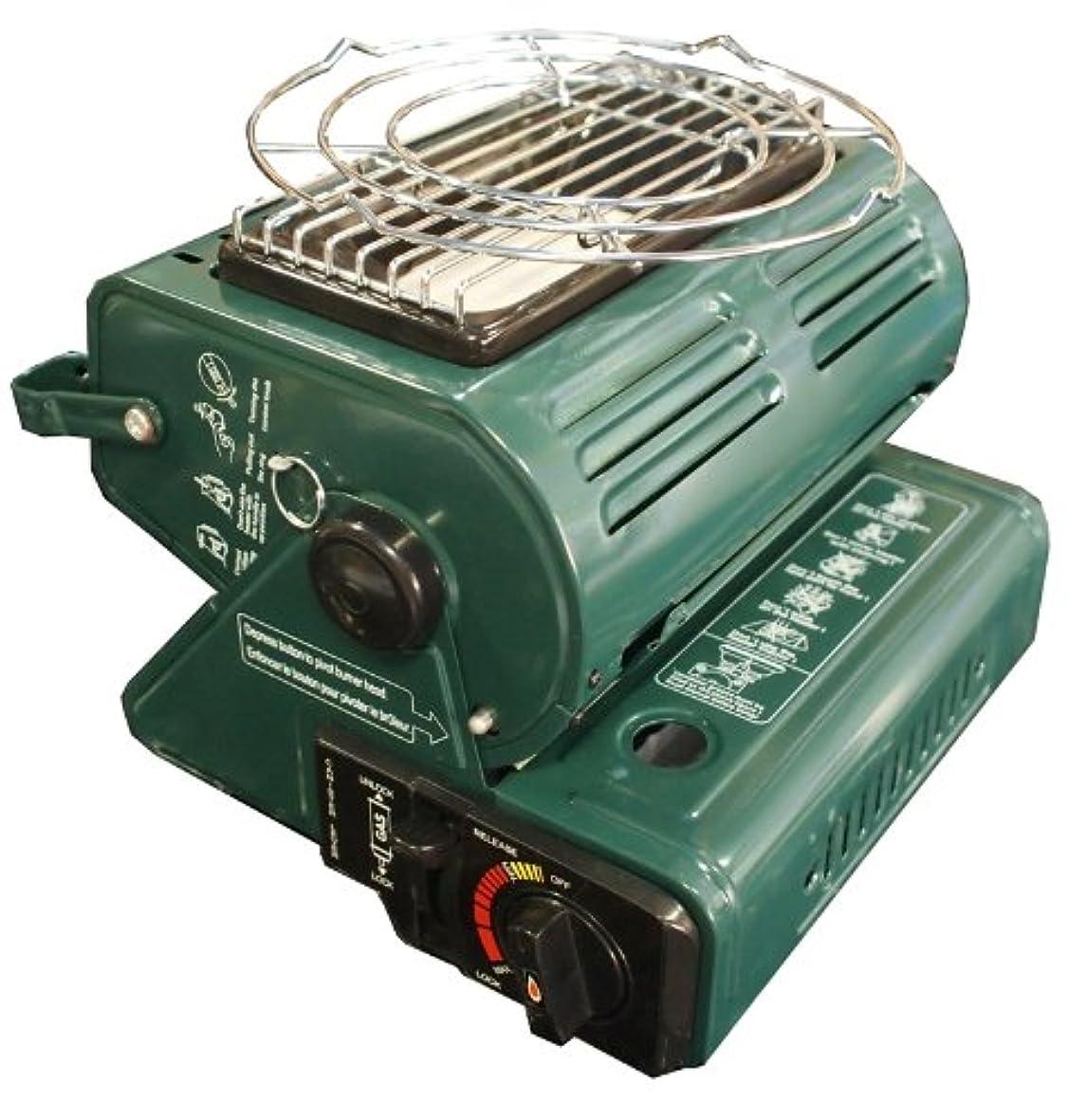 爆風百年高度電池不要●2wayストーブとコンロの1台2役★ポータブル式カセットガスストーブ【日本語説明書付】