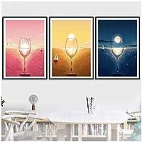 ワイングラス風景ノルディックポスターウォールアートキャンバス絵画ポスターとプリント壁写真用リビングルームの装飾-50×70センチ×3ピースフレームなし