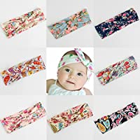JXBEAUTY 8PCS Floral Print Headband Hair Band Head Wrap Elastic Bowknot For Girl Baby Newborn Kid