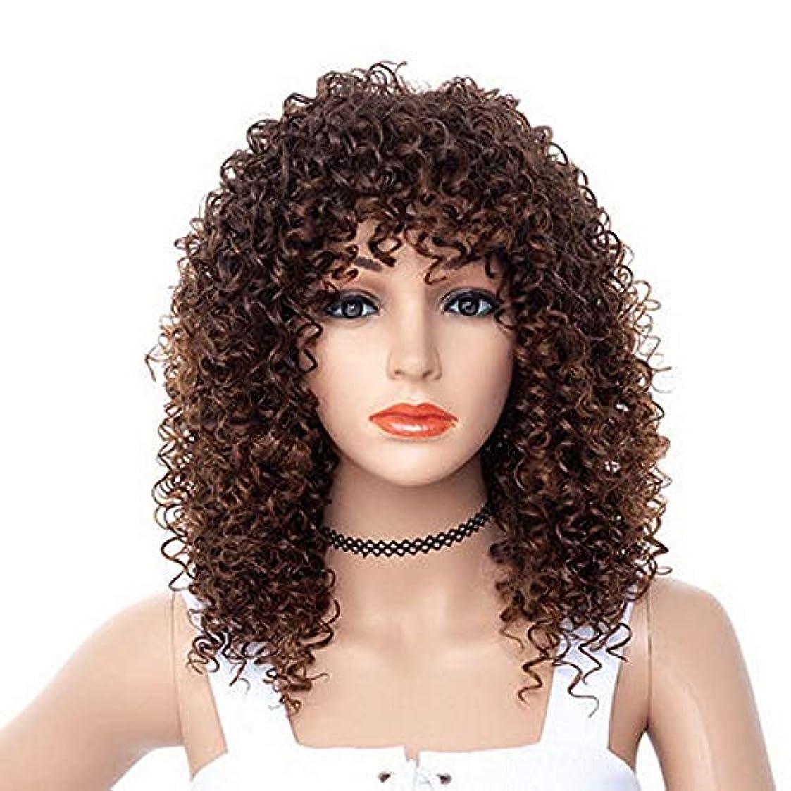 休日手のひら建てる女性のための色のかつら長いウェーブのかかった髪、高密度温度合成かつら女性のグルーレスウェーブのかかったコスプレ髪のかつら、女性のための耐熱繊維の髪のかつら、黒のかつら18.5インチ