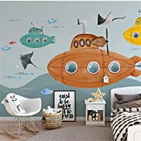 LJJLM 壁画カスタムHD手描き漫画潜水艦水中世界の子供部屋の背景の壁の壁紙-160X120CM