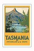 タスマニア - 南のスイス - マウント Ida, 湖 St. Clair - ビンテージな世界旅行のポスター によって作成された ハリー・ケリー c.1940 - アートポスター - 76cm x 112cm