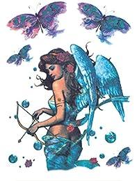 Qufan タトゥーシール 天使 羽 天使の翼 3枚セット リアル 大判 高品質 防水 長持ち 青 入れ墨シール タトゥーステッカー ボディーシール メンズ レディース 刺青シール 防水 腕、足、体、胸、肩、背中に簡単貼...