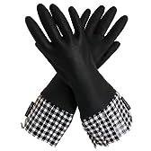 グローバブルズ ゴム手袋(中厚手) ブラック×ブラックギンガム サイズフリー