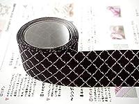 Sweet雑貨オリジナルリボン ラティス柄(リーフ) 黒 幅38mm 4ヤード(約3.7メートル) *「リボンの作り方」両面カラー1枚付き * [並行輸入品]